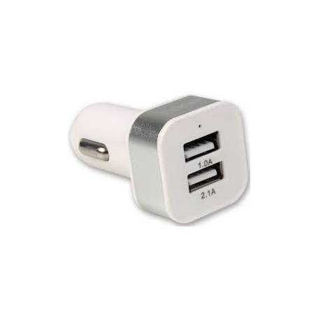 Adaptador de 12V  a 2 USB mas cable lightning Y MICRO usb