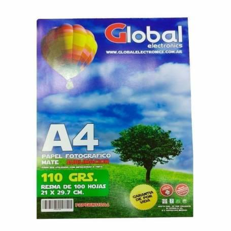 Papel F. Matte A4 110g 100 H APTO SUBLIMACION Global electronics