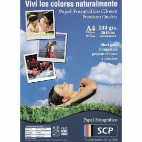Papel Fotográfico Glossy Autoadhesivo SCP 240grs.