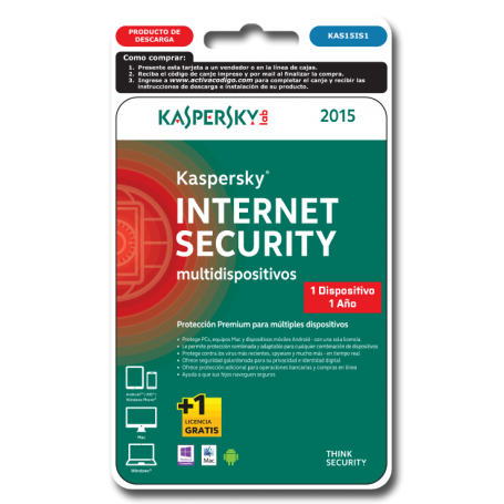 Kaspersky Internet  Security 1 dispositivo KAS15IS1