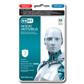 ESET NOD 32 Antivirus 3 PC  Año 2015 ESET15AV3