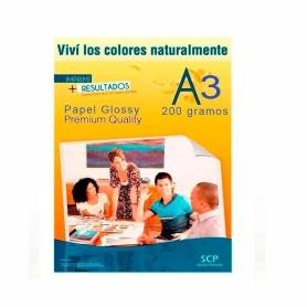 Papel Fotográfico Glossy A3 SCP 200grs.