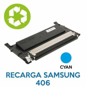 Recarga de toner SAMSUNG 406 CYAN CLT-C406S