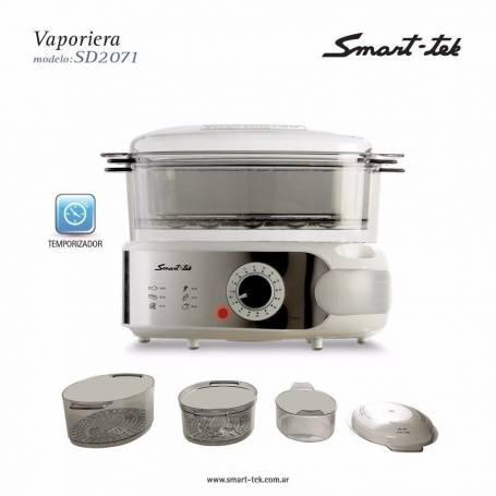 Vaporiera De Alimentos Smart tek SD2071 3 Bandejas Timer Con Alarma Apilable