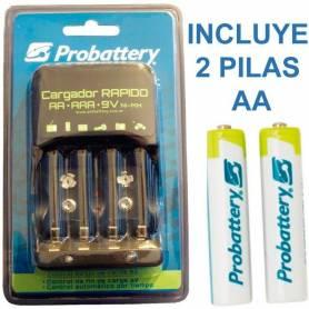 Cargador de 4 pilas y bateria de 9V Probattery CON 2 PILAS AA
