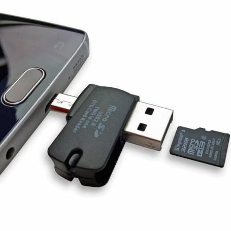 2 en 1 lector de tarjetas Micro SD USB OTG para teléfonos / tabletas / ordenadores