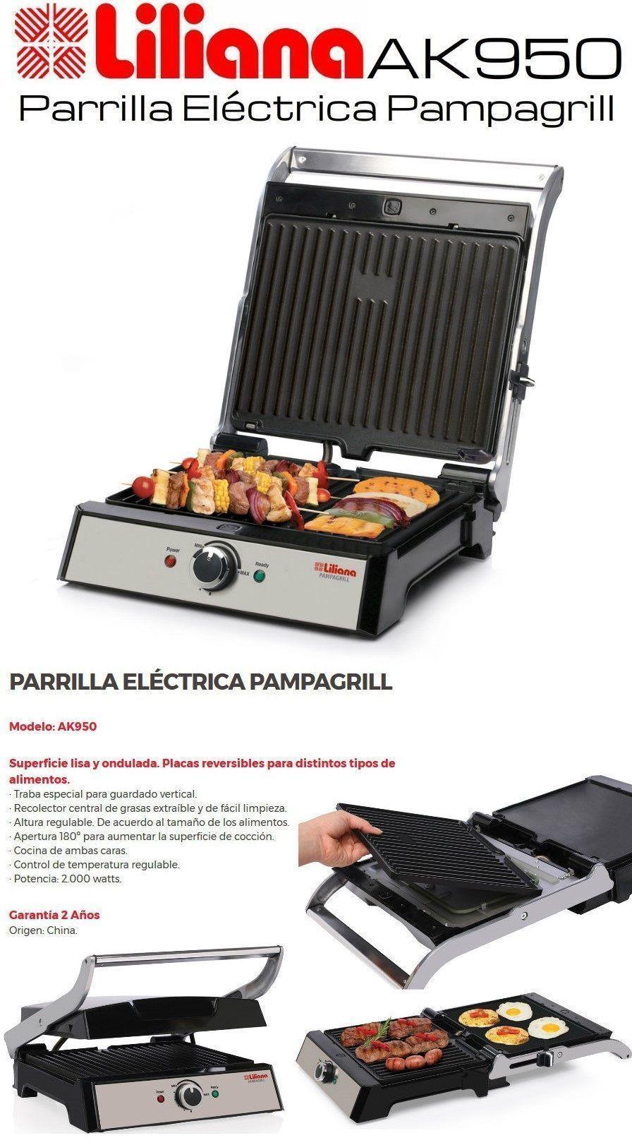 Parrilla electrica grill liliana pampagrill 2000w for Parrilla electrica para casa