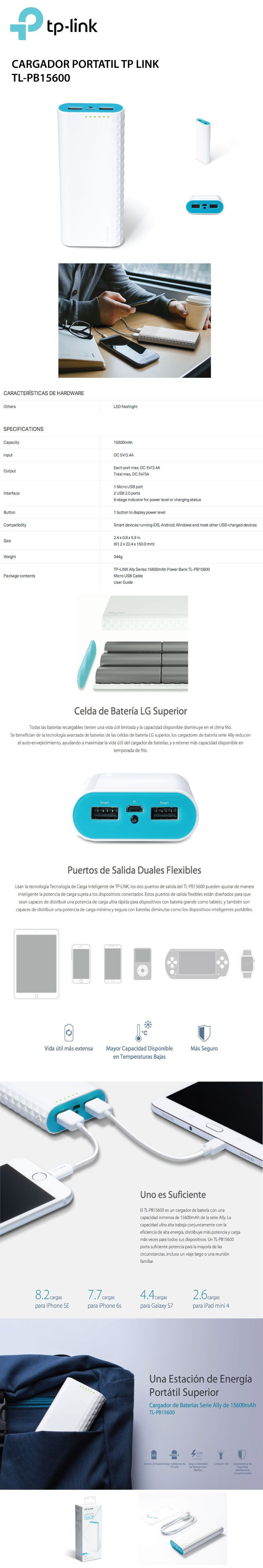Cargador Portatil Power Bank Tp Link Tl Pb15600 15600 Mah Powerbank Ally Series